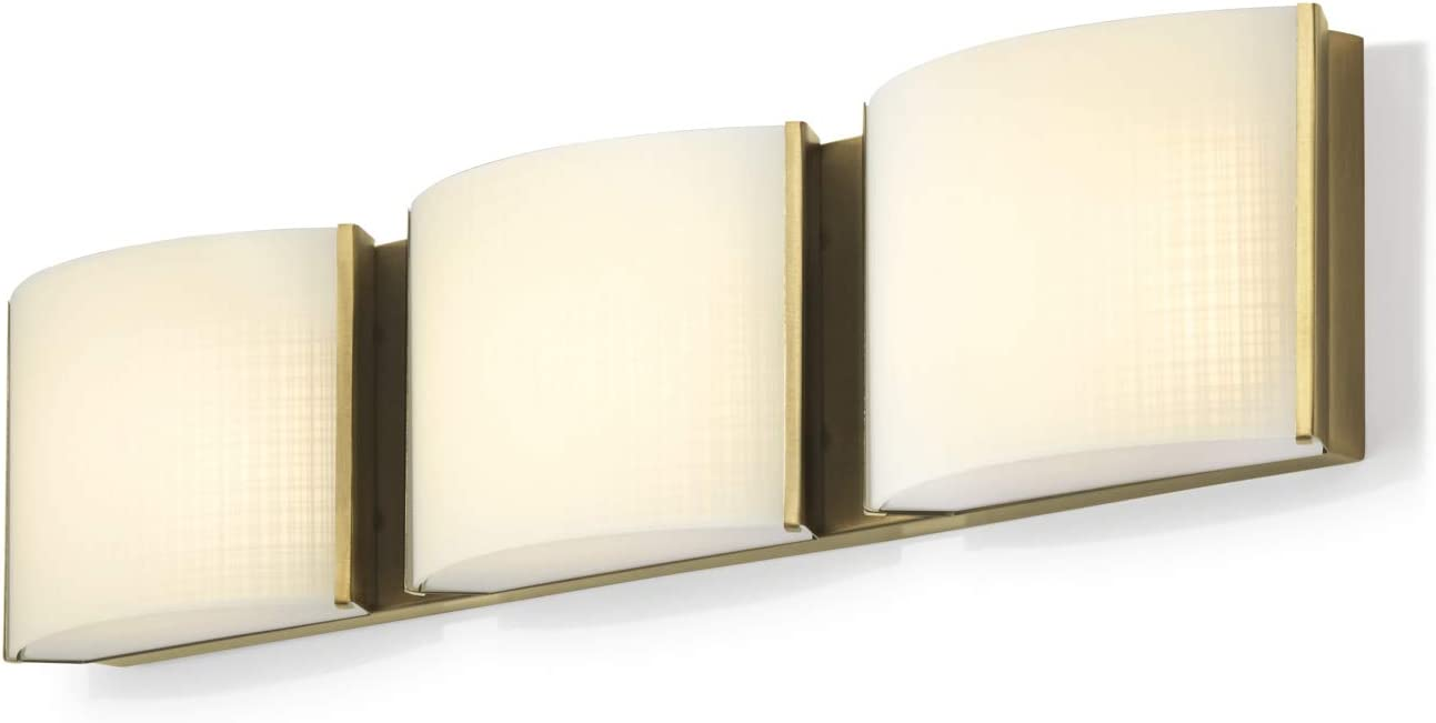 3-Light Brass Vanity Fixture – LED Bathroom Lamp, Textured Linen Glass, Hardwire, Damp Located, Fully Dimmable – ETL Listed