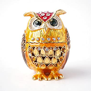 Hand- Painted Owl Trinket Box with Rich Enamel and Sparkling Rhinestones Jewelry Trinket Box (Gold)