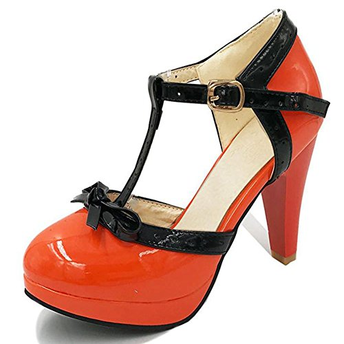 Mary Dress Pumps Heel T High Shoes Vintage DoraTasia Janes Bow Platform Cute Tie Orange 3 Strap Women's w07O8