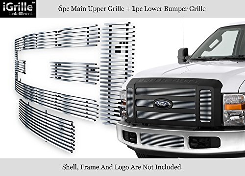 Super Duty Ford Billet F350 - APS 304 Stainless Steel Billet Grille Grill Combo Fits 08-10 Ford F-250/F-350/ Super Duty #F67803C
