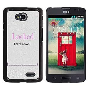 TECHCASE**Cubierta de la caja de protección la piel dura para el ** LG Optimus L70 / LS620 / D325 / MS323 ** Locked Password Slogan Sign Quote Funny
