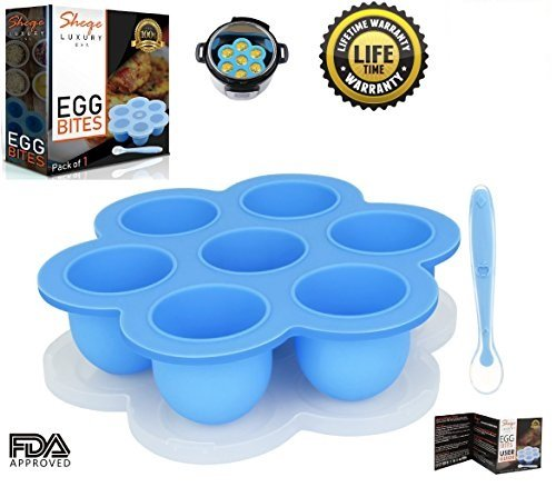 Silicone Egg Bites Molds: Food Storage Containers For Instant Pot & Egg Cups Cooker – Soft Cupcake & Muffin Baking – Reusable Freezer Tray With Lid –1 Silicone Baby Spoon Included, P/1.by Sheqe Luxury