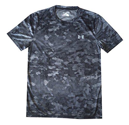 Under Armour Men UA Tech Velocity Print T-Shirt (M, Black/grey)
