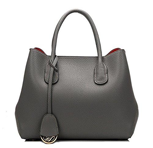 La mujer Xinmaoyuan bolsos de cuero lleno de Platino lichi rayas Plaid Cuero Mujer señoras bolso de hombro bolsa grande Gris