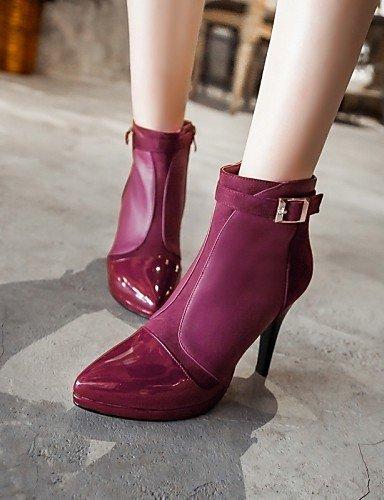 Violet-us6.5-7   eu37   uk4.5-5   cn37 XZZ  Chaussures Femme - Habillé   Décontracté - Noir   Violet - Talon Aiguille - A Plateau   Bout Pointu   Bottes à la Mode - Bottes -Cuir