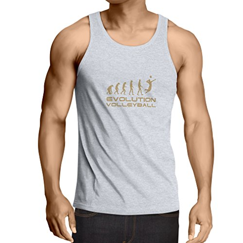 lepni.me Men's Tank Top The History and Evolution of Volleyball Game (XX-Large White Gold)
