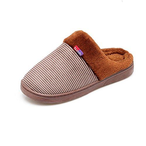 Y-Hui Bolsa con zapatillas de algodón inferior grueso caliente en invierno los amantes masculinos Home Furnishing Slip pantuflas de invierno,44-45 (normalmente 43-44 metros),Marrón oscuro