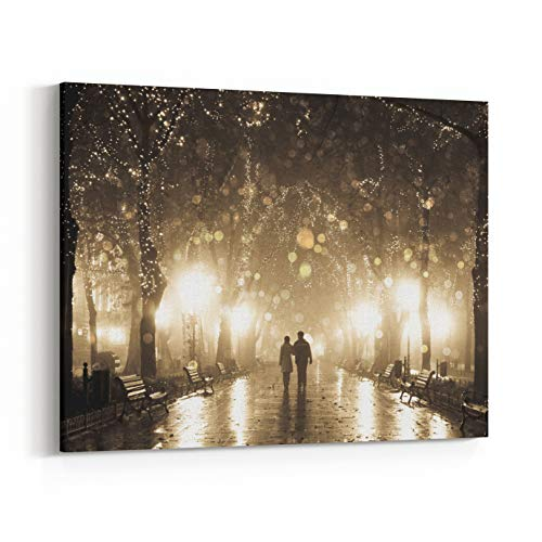 Rosenberry Rooms Canvas Wall Art Prints - Couple Walking at Alley in Night Lights Photo in Vintage Multicolor Style (18 x 12 inches)