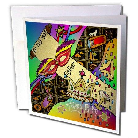 Lee Hiller Designs Judaica - Judaica Happy Purim Festive Celebration Art Print - 12 Greeting Cards with envelopes (gc_47381_2)