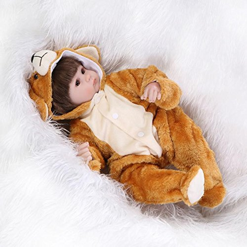 Yesteria Real Life Reborn Baby Dolls Girl Silicone Vinyl Light Brown Bear Outfit 17 Inches from Yesteria
