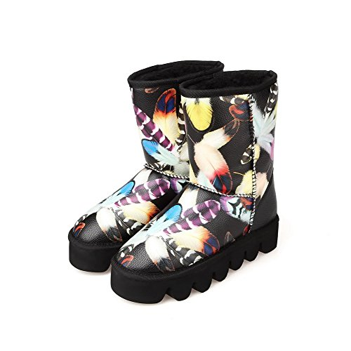 AmoonyFashion Womens Round-Toe Closed-Toe Kitten-Heels Boots and Curves Style Black f2SIi9kWvK