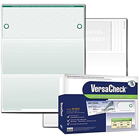 VersaCheck UV Secure Business Check Refills: Form #1000 Business Voucher - Green - Elite - 250 Sheets