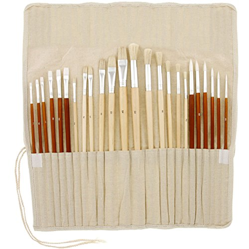 US Art Supply 24 piece Oil & Acrylic Paint Long Handle Artist Paint Brush Set with Canvas Roll-Up Storage Wrap -