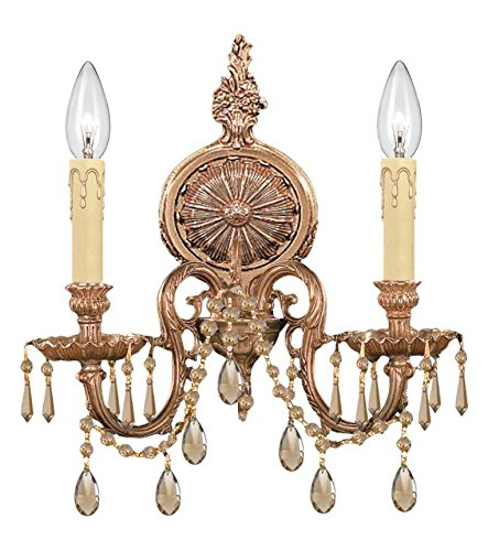 (Olde Brass Baroque 2 Light Cast Brass Double Wall Sconce with Majestic Wood Polished Crystal)