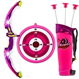Toysery Kids Toy Bow & Arrow Archery Set Arrow Holder Target - LED Light Up Function - Hunting Series Toy Girls, Pink