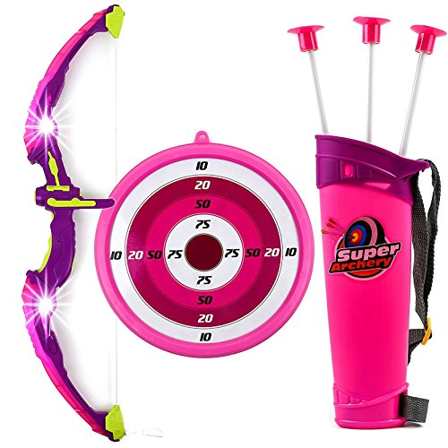Image of the Toysery Kids Toy Bow & Arrow Archery Set Arrow Holder Target - LED Light Up Function - Hunting Series Toy Girls, Pink