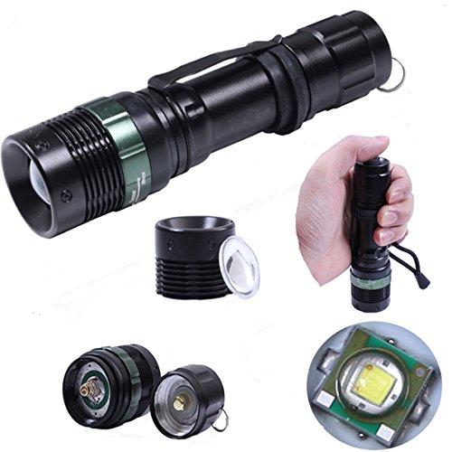 1-Pcs Authentic Fashionable 3000-Lumens 3-Mode LED Flashlight Skid-Proof Design Blinding Effect Lamp Reflector Convex Lens Waterproof O-ring Sealed Adjustable Brightness Colors Black