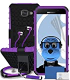 Samsung Galaxy A5 (2016) SM-A510F Purple Shock Proof Rugged Hard Case with Viewing Stand - LCD Screen Protector - Retractable Mini Stylus Pen - 3.5mm ZIPPER Stereo Hands Free HeadPhones with Mic