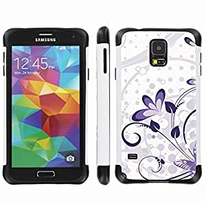 [ArmorXtreme] Drop Proof Dual Layer Protection Case (Purple Butterfly Flower) for Samsung Galaxy S5
