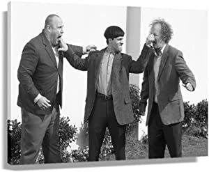 The Three Stooges Retro Movie Poster Decorations for Office Decorative Paintings Picture Prints Wall Art Home Artwork Living Room Rectangular Canvas Modern Picture Printed Canvas (30x20inch,Framed)