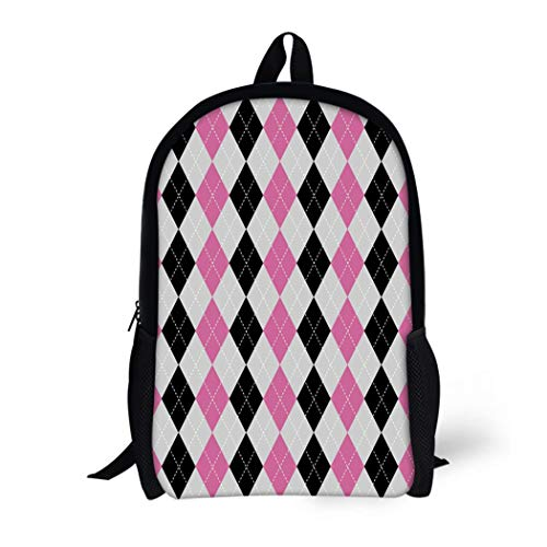 Jumper Argyle - Pinbeam Backpack Travel Daypack Diamond Argyle Pattern Check Harlequin Plaid Checkered Jumper Waterproof School Bag