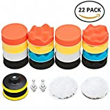 "Scorpiuse 22 Pack Buffing Sponge Pad Kit Polishing Pads with M10 Drill Adapter 3""/80mm for Car Polisher (22pcs)"