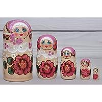 Matryoshka Ruso 5 piezas Muñecas de nido Babushka Rosas Rosa kokoshnik