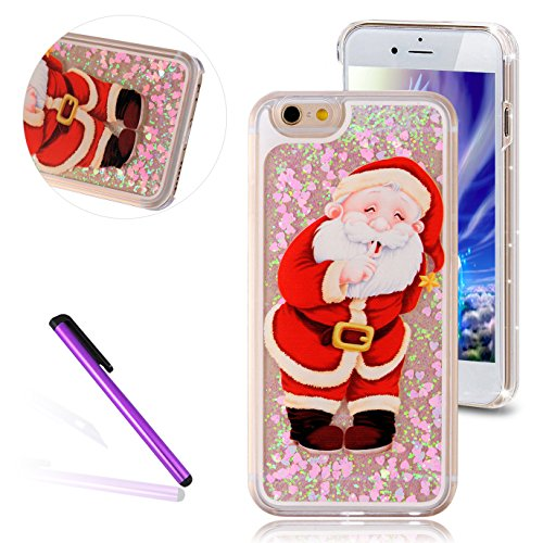 "iPhone 6S Case,iPhone 6 Case,EMAXELER Christmas Series Pattern Glitter Liquid Floating Stars Moving PC Hard Protective Case for iPhone 6 / 6S 4.7"" Send 1Pcs Stylus Pen-Santa Claus"