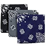 Bandana 3-Pack - Made in USA For 70 Years - Sold by Vets - 100% Cotton -Sewn Edges (Black, Charcoal, Navy)