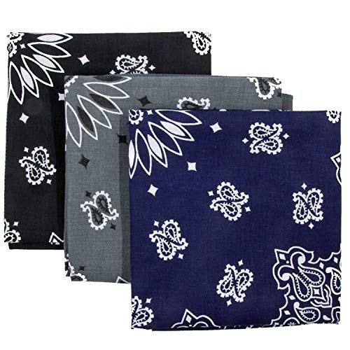 Bandana 3-Pack - Made in USA For 70 Years - Sold by Vets - 100% Cotton -Sewn Edges (Black, Charcoal, Navy) from OHSAY USA