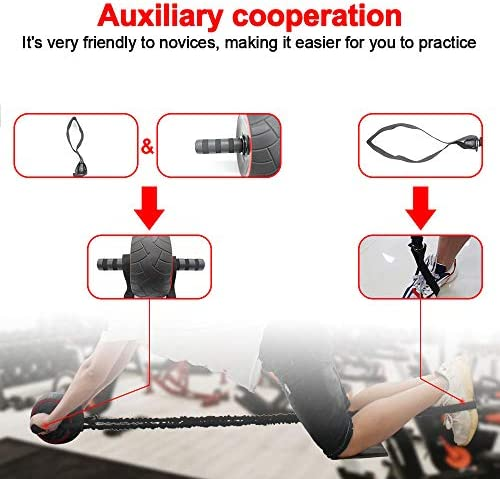 shine future Ab Roller Wheel, 8 Pcs Ab Wheel Roller Kit Include Resistance Bands