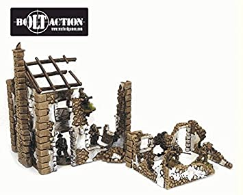 Ruined Hamlet - WW2 Scenery - Three Buildings - Bolt Action 28mm - 1