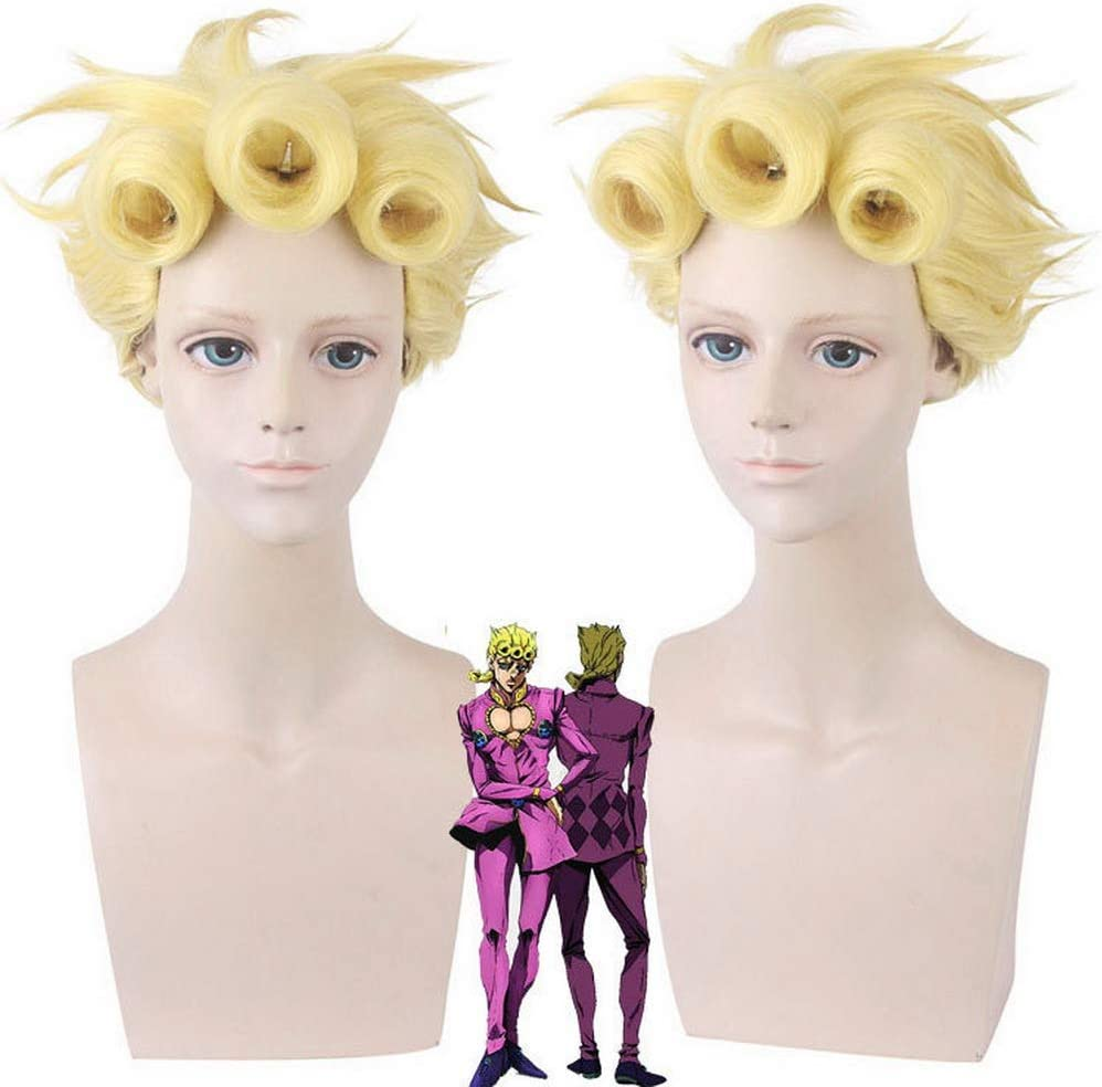 Cogeter Jojo S Bizarre Adventure Anime Giorno Giovanna Light Yellow Rolled Up Wig With A Braid Cosplay Makeup Washable 50cm Slight Inward Curly Hair Tail Fancy Short Wig With Bangs Amazon Ca Beauty