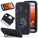 Moto G 2nd Generation Case, HAOCOO Extreme-Duty Shockproof Full-body Rugged Hybrid Protective Case Cover With 360 Degree Rotating