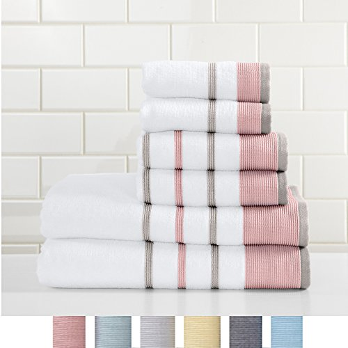 Great Bay Home 6-Piece 100% Turkish Cotton Striped Towel Set, Soft, Ultra-Absorbant. Includes 2 Bath Towels, 2 Hand Towels and 2 Washcloths. Noelle Collection Brand.