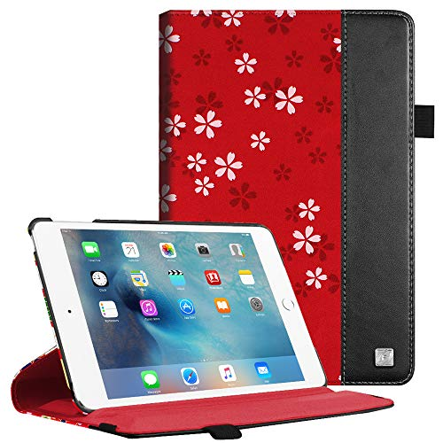Fintie iPad Mini 4 Case - Multiple Angles Stand Case with Smart Cover Auto Sleep/Wake Feature for Apple iPad Mini 4 (2015 Release), Floral Red