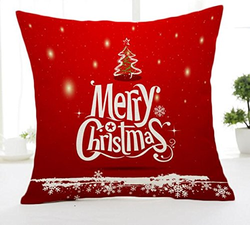 Merry Christmas Bell Red Cotton Linen Throw Pillow Case Cushion Cover Home Sofa Decorative 18 X 18 Inch(3) (12) (Pillow Merry Red)