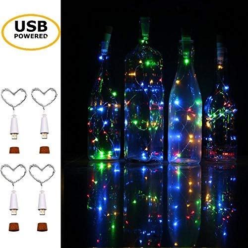 iMazer Wine Bottle Cork Lights,USB Powered Rechargeable Copper Wire String Starry 32inch 15 LED Light DIY,Party,Home Decor,Christmas,Wedding Mood Lights Warm White (USB Powered MultiColor 4 Pack) ()