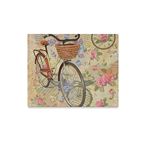 InterestPrint Vintage Newspaper Background with Roses Canvas Prints Wall Art Wood Framed Modern Home Decor, Clock and Bicycle 20 x 16 Inches