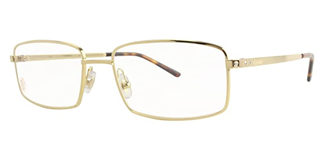 ea3d2beff384 Image Unavailable. Image not available for. Colour  Cartier Santos 56x18mm  Brushed Golden Champagne Finish Metal Men Optical Glasses EYE00123