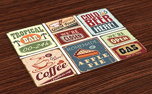 Lunarable 1950s Place Mats Set of 4, Vintage Style Signs Advertising Beverage Coffee Drink Aged Glass Tropical Nostalgia, Washable Fabric Placemats for Dining Room Kitchen Table Decoration, Multicolor