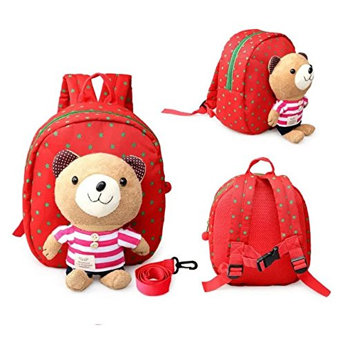 COFFLED 3D Cute Bear Kid Backpack for Kindergarten, Lunch Box Storage& Carry Bag for Toddler and Baby Boys and Girls with 1 Car Pencil Box Pencil Pouch for Pen Holder