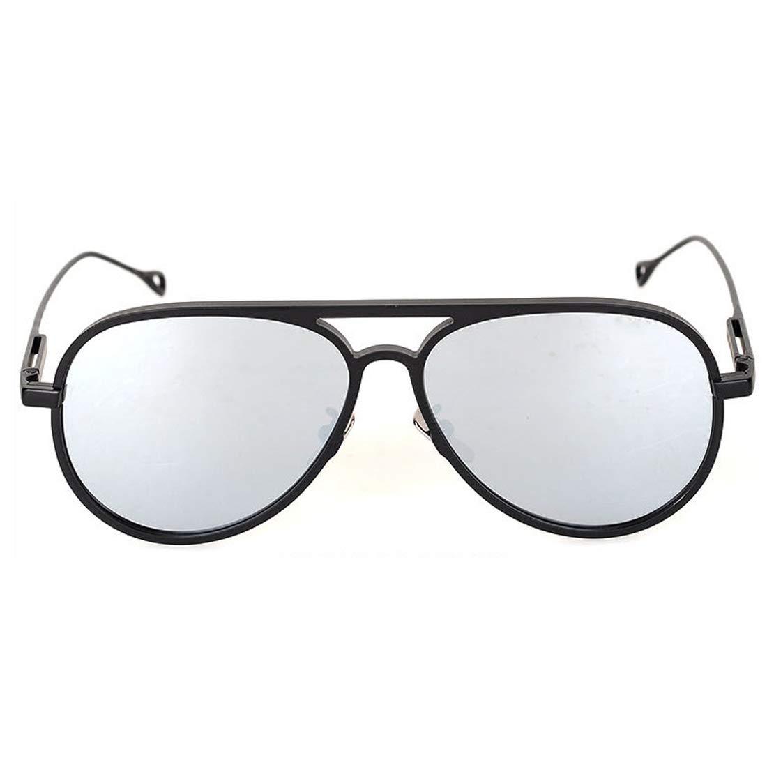 TLMY Las Gafas De Sol De Magnesio De Aluminio Mirror Reflejan La Tendencia del Metal Calle Tiro Gafas De Sol Retro Gafas de Sol (Color : Black Frame/Silver ...