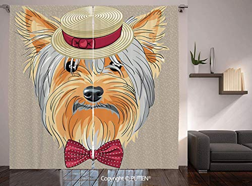 Thermal Insulated Blackout Window Curtain [ Yorkie,Hipster Yorkie with Cute Straw Boater and Bow Tie Hand Drawn Gentleman Dog Decorative,Apricot Multicolor ] for Living Room Bedroom Dorm Room Classroo