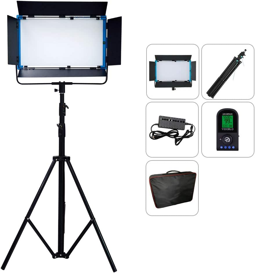 Yidoblo A-2200 LED Video Lighting Panel Ultra Bright Daylight 100W, 3200K-5600K High CRI/TLCI 97+ Professional Studio Photography Lighting with Remote Control (A-2200 Daylightwith Stand)