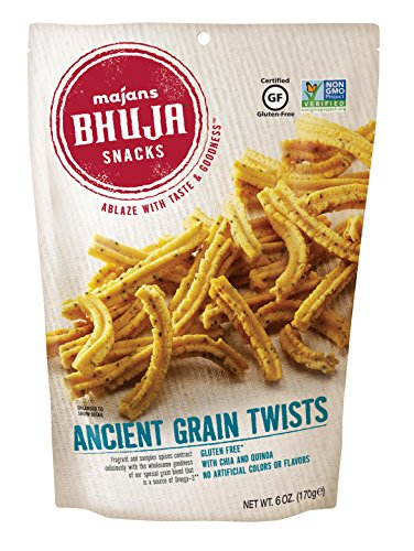 (Majans Bhuja Gluten Free Snack Mix, Non-GMO | No Preservatives | Vegetarian Friendly | No Artificial Colors or Flavors, Ancient Grain Twists, 6 Ounce (Pack of 6))