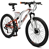"Merax 26"" Full Suspension 21 Speed Mountain Bike with Disc Brake (White Orange)"