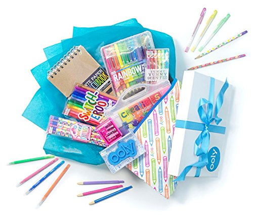 Ooly Self Expression Writing and Art Gift Set for Girls - Glitter Gel Pens, Pencils, Color Changing Markers, Rainbow Mechanical Colored Pencils with Pencil Sharpener & Sketchbook