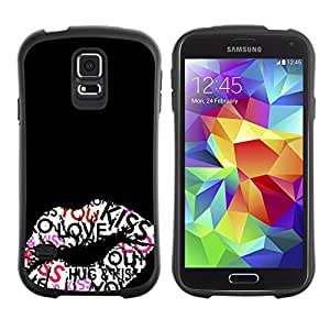 Suave TPU Caso Carcasa de Caucho Funda para Samsung Galaxy S5 SM-G900 / Kiss Hug Lips Sexy Honey Black / STRONG