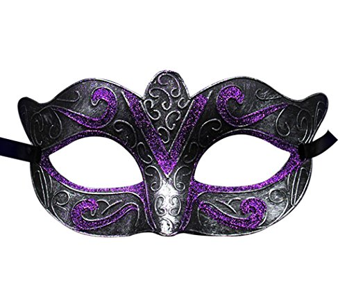 Unisex Vintage Venice Halloween Costume Masquerade Masks Half Face Mask(Silver and Purple) ()